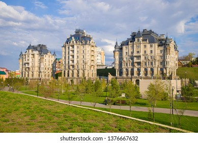 """KAZAN, RUSSIA - APRIL 30, 2016: View of the modern elite residential complex """"Palace Embankment"""" on a sunny April day."""