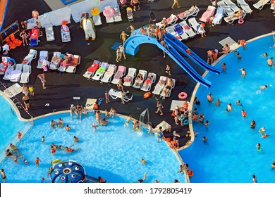 KAZAN, RUSSIA - AUGUST 06, 2020. Outdoor swimming pools of the Riviera entertainment complex. Aerial view of the water park. City of Kazan, Republic of Tatarstan, Russia.