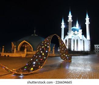 KAZAN, RUSSIA - AUGUST 18, 2013: Kul sharif mosque in kazan kremlin at night