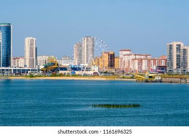 Kazan, Russia - August, 20, 2018: embankment of Kazanka river in Kazan, Russia