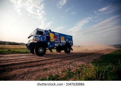 KAZAN, RUSSIA - AUGUST 24, 2017 -Demonstration of the racing truck KAMAZ master, truck test at outskirts. Dakar rally winners
