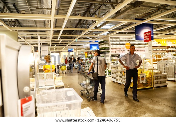 Kazan, Russia - August 31, 2018: Interior of large IKEA store with a wide range of products in Russia