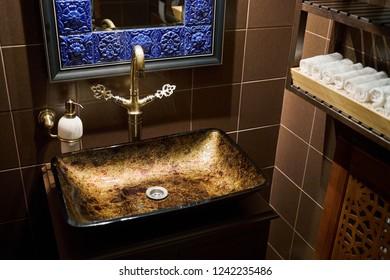 KAZAN, RUSSIA - DEC 08, 2017: Interior of toilet room in Chaykhana Markhaba restaurant.