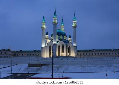 Kazan, Russia, December 5, 2018. Beautiful view of the Kul Sharif Mosque and the Kazan Kremlin in winter