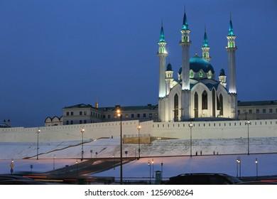Kazan, Russia, December 5, 2018. Winter view of the Kazan Kremlin and Kul Sharif Mosque in Kazan in the evening light