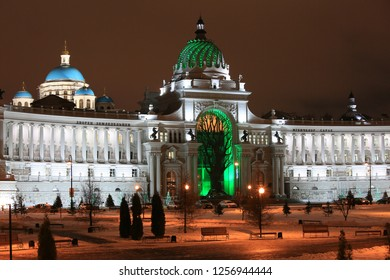Kazan, Russia, December 5, 2018. Beautiful night view of the Palace of Farmers in the evening illumination in winter