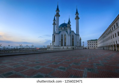 Kazan, Russia, December 6, 2018. Evening view of the Kul Sharif Mosque in the Kazan Kremlin