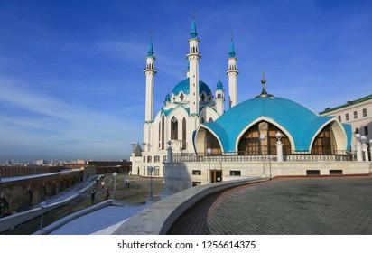 Kazan, Russia, December 6, 2018. Kul Sharif Mosque in the Kazan Kremlin in winter