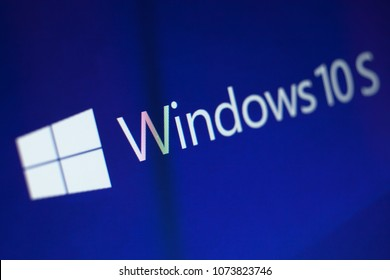 KAZAN, RUSSIA, December 7, 2017. Windows 10S logo on the PC screen. Warning: selective focus, very small DOF, blurred