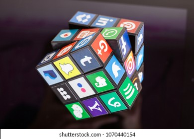 KAZAN, RUSSIA - January 27, 2018: A cube with popular social media logos lie on the tablet PC.