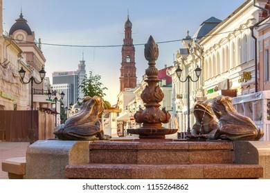 Kazan, Russia - July 13, 2018: The fountain with frogs on Bauman Street - the main pedestrian street in the city of Kazan, Russia. Morning scene.