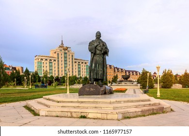 Kazan, Russia - July 13, 2018: Monument to poet Kul Gali in Millennium Park in Kazan, Tatarstan, Russia.