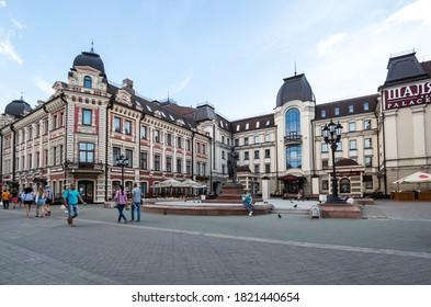 KAZAN, RUSSIA - JULY 15, 2018: Bauman Street is a pedestrian street in the heart of Kazan, the capital of the Republic of Tatarstan, Russia