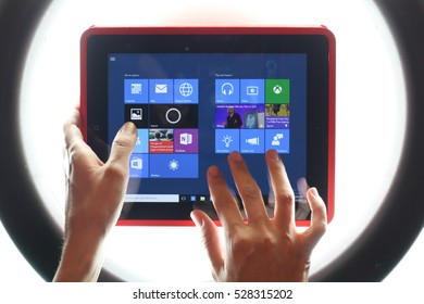KAZAN, RUSSIA, July 17, 2015: Tablet computer with Windows 10, the new version of Windows OS by Microsoft Corporation; it started July 29, 2015.