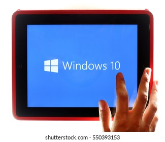 KAZAN, RUSSIA, July 17, 2015: Tablet computer with Windows 10, the new version of Windows OS by Microsoft Corporation.