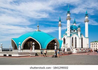 KAZAN, RUSSIA - JULY 17, 2018: The Kul Sharif Mosque - one of the largest mosques in Russia, Kazan, Republic of Tatarstan
