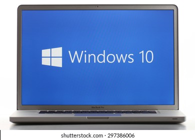KAZAN, RUSSIA, July 2, 2015: Notebook computer with Windows 10 logo. Windows 10 is the new version of Windows OS by Microsoft Corporation; it starting July 29, 2015.