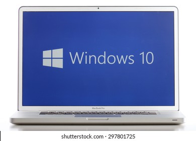 KAZAN, RUSSIA, July 4, 2015: Notebook computer with Windows 10 logo. Windows 10 is the new version of Windows OS by Microsoft Corporation. It starting July 29, 2015. It working well even on mac.