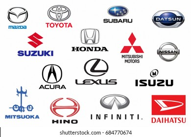Kazan, Russia - July 7, 2016: Collection of japanese car logos printed on white paper: Mazda, Honda, Mitsubishi, Toyota, Nissan, Hino, Isuzu, Subaru, Suzuki, Acura, Lexus, Infiniti and others