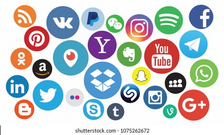 KAZAN, RUSSIA - July 7, 2017: Collection of popular social media logos printed on paper: Facebook, Twitter, LinkedIn, Instagram, WhatsApp, Youtube, Blogger and other. Ratio 16:9