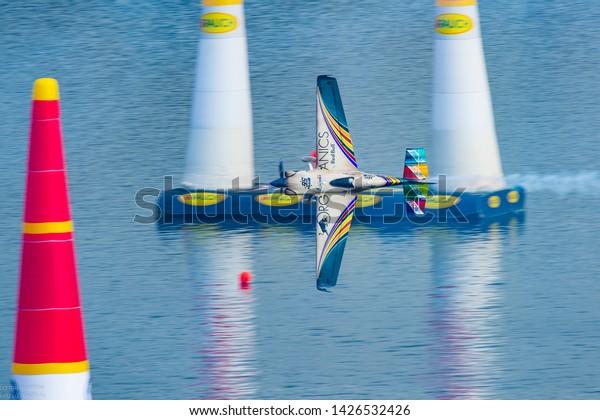 Kazan, Russia - Jun 16 2019. Matt Hall plane flying at Red Bull Air Race 2019