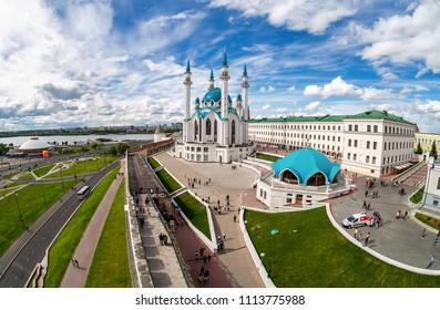 Kazan, Russia - June 10, 2018: Fisheye view on Kul Sharif mosque in Kazan Kremlin, one of the largest mosques in Russia