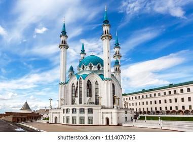 Kazan, Russia - June 10, 2018: Famous Kul Sharif mosque in Kazan Kremlin
