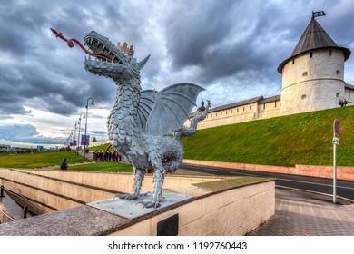 Kazan, Russia - June 10, 2018: Sculpture of mythical serpent Zilant, the official symbol of Kazan near the Kazan Kremlin and Kul Sharif mosque, the Republic of Tatarstan