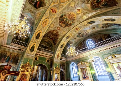 Kazan, Russia - June 10, 2018: Interior of the Annunciation Cathedral of the Kazan Kremlin, Tatarstan