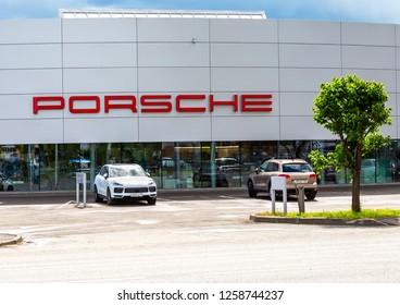 Kazan, Russia - June 10, 2018: Office of official dealer Porsche. Porsche is a German holding company