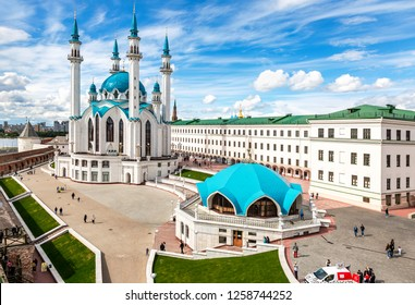 Kazan, Russia - June 10, 2018: View on Kul Sharif mosque in Kazan Kremlin in summer day, one of the largest mosques in Russia