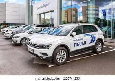 Kazan, Russia - June 10, 2018: New cars Volkswagen near the office of official dealer