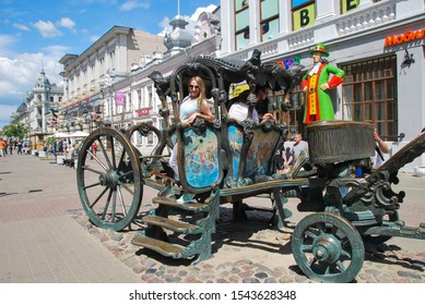 Kazan Russia - June 11, 2017 Summer walk along main pedestrian street of Kazan. Bauman Street, pedestrian street favorite place for tourists and visitors to walk. Cast-iron carriage. copy Catherine II