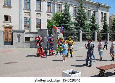 Kazan Russia - June 11, 2017 Summer walk along the main pedestrian street of Kazan. Bauman Street, pedestrian street, a favorite place for tourists and visitors to walk.