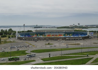KAZAN, RUSSIA -JUNE 23, 2014: Central Stadium, Millennium Square. View from Kazan Kremlin
