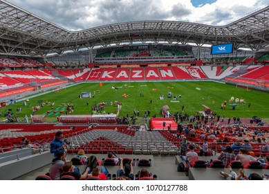 KAZAN, RUSSIA - JUNE 3, 2016: People inside stadium Kazan Arena in Russia
