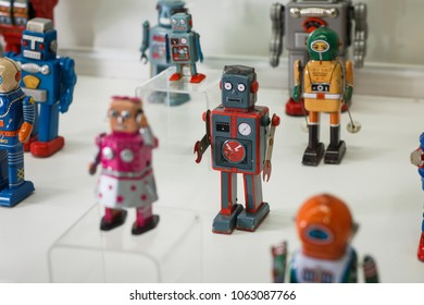 """Kazan, Russia- March, 2018: A set of small ancient robots at the exhibition """"City of Robots"""", a home international exhibition and a landmark for all those involved in the interior design sector"""