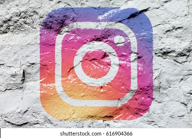 Kazan, Russia - March 6, 2017: Instagram logo drawn on concrete wall. Instagram is an online service that enables its users to share pictures and videos on social networking platforms