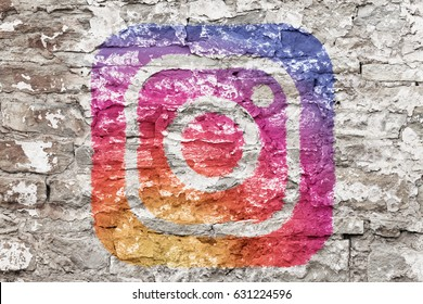 Kazan, Russia - March 6, 2017: Instagram logo drawed on concrete wall. Instagram is an online service that enables its users to share pictures and videos on social networking platforms