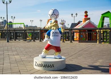 Kazan, Russia - May 07, 2018 Wolf Zabivaka the official mascot of championship FIFA World Cup Russia 2018 on Kremlin Embankment in Kazan