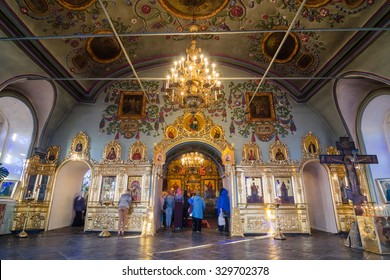 KAZAN, RUSSIA - MAY 1, 2015: Peoples inside in the Saints Peter and Paul Cathedral (Petropavlovsky Cathedral). It is a Russian Orthodox famous church in Naryshkin Baroque. Kazan, Tatarstan, Russia.
