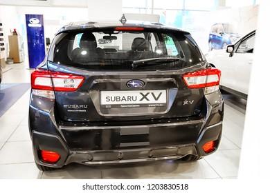 Kazan, Russia - May 18, 2018: Car in showroom of dealership Subaru in Kazan in 2018