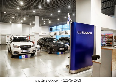 Kazan, Russia - May 18, 2018: Cars in showroom of dealership Subaru in Kazan in 2018