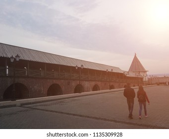 Kazan, Russia - May, 2018: view of the tower of the Kazan Kremlin from the inside: the square and the walls of the Kremlin