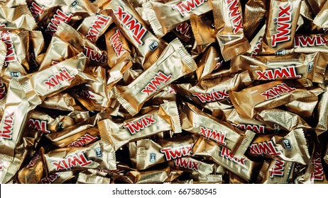 Kazan, Russia - May, 27, 2017: Twix wrapper isolated on white. Twix is a chocolate bar made by Mars, Inc., consisting of biscuit applied with caramel and milk chocolate.