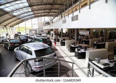 Kazan, Russia - May 27, 2018: Cars in showroom of dealership Audi in Kazan in 2018. Top view