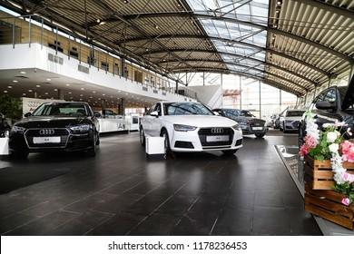 Kazan, Russia - May 27, 2018: Cars in showroom of dealership Audi in Kazan in 2018
