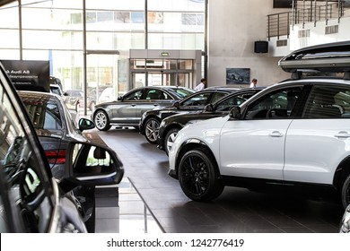 Kazan, Russia - May 27, 2018: Cars in showroom of dealership Audi in Kazan in 2018