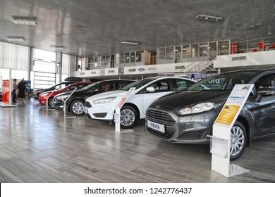Kazan, Russia - May 27, 2018: Cars in showroom of dealership Ford in Kazan in 2018