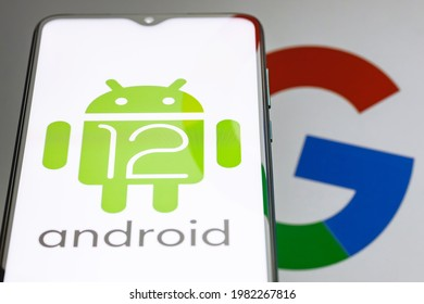 Kazan, Russia - May 29, 2021: Android is a mobile operating system. The twelfth version of the Android operating system developed by Google. Android 12 logo on smartphone screen.